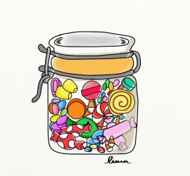 Caramelos en un tarro